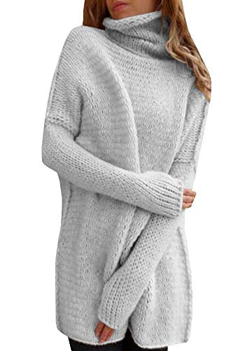 Inorin Women Sweaters Oversized Pullover High Neck Long Knit Fall Winter Sweater Jumper (Sweater Dresses Boots)