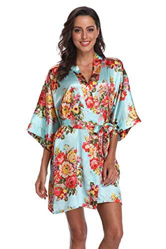 SUGAR JAN Women's Floral Satin Kimono Short Robes with Pockets for Wedding Party Light Blue -