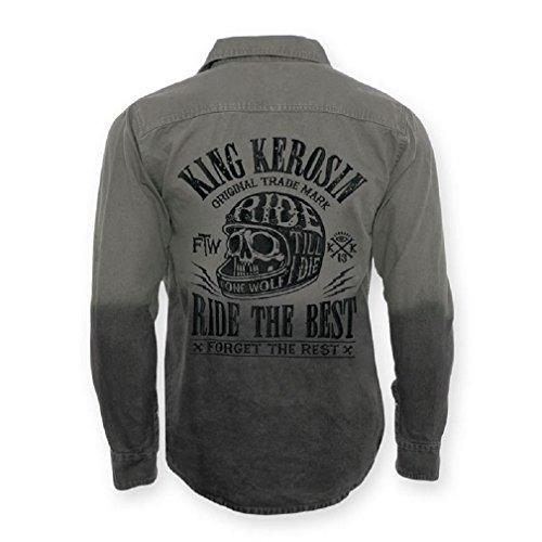 King Kerosin Rockabilly Langarm Canvas Worker Hemd Schädel - Ride The Best Oldschool Mens Shirt Ombre Grau bis 3XL