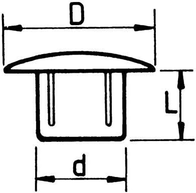 WURTH 0683135067-50 tapones para orificio de 12 mm cabeza de 16 mm pl/ástico color negro