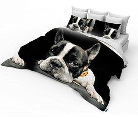 Home Décor 3D tamaño Doble impresión fotográfica Cachorro de Bulldog Francés diseño Funda de edredón Juego