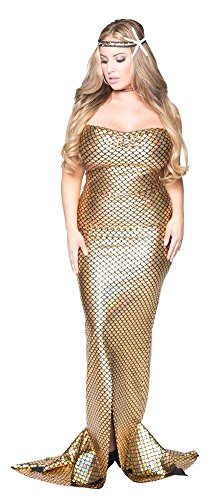 Delicate Illusions Sexy Adult Ladies Plus Size Mermaid Halloween Costume Gold Dress for Women 5X (22-24) (Mermaid Costumes Plus Size)