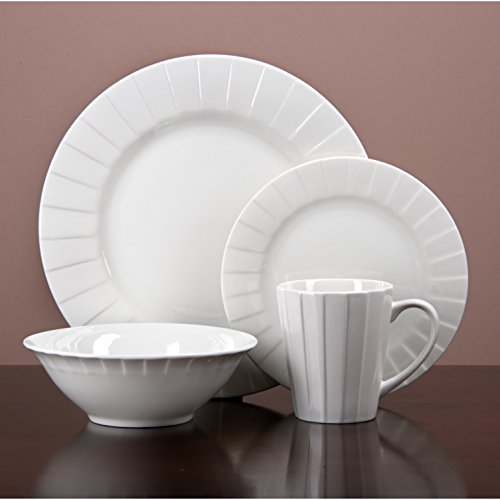 (Simple Decorative Porcelain Dinnerware 32 Piece Kitchen Set, Service for 8, Microwave and Dishwasher)