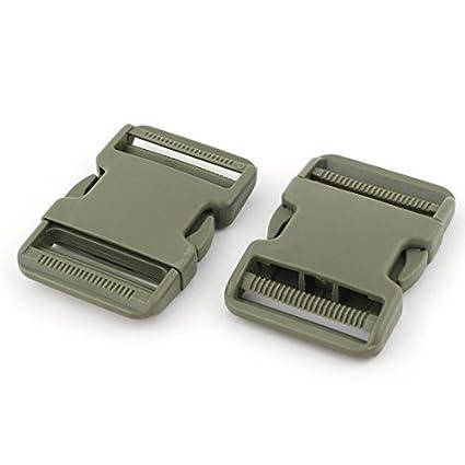 eDealMax plástico Mochila correas Correa de Hebilla de liberación rápida adjustive 2 PC Verde del ejército