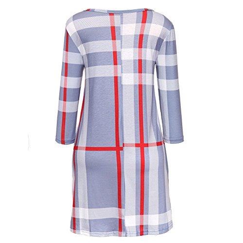 Larga Tartán Rojo Blusas Vestido Cuadros Cuadros XL Suelto L Moda Camisetas Mujer Cuello Gris Azul 4 Gris Manga Corto Mxssi Vestido Beige Redondo 3 S Largas M zpY6YwqU