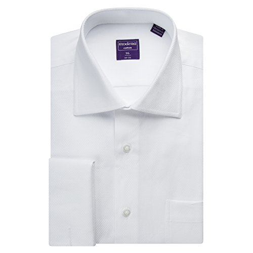 Modena Mens White Textered French Cuff Dress Shirt (ALL SIZES) (15 34/35)