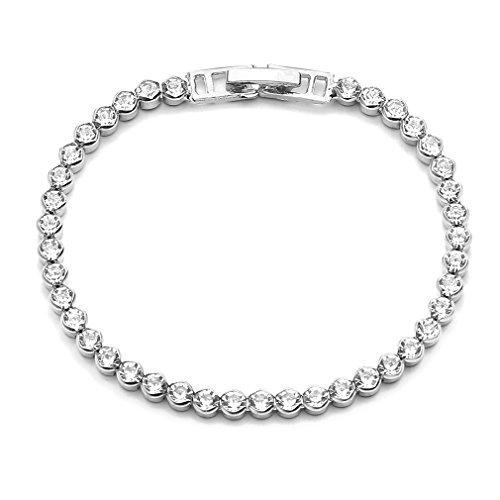 (Weiy Tennis Bracelet with Cubic Zirconia Artificial Diamond Eternity Bracelet Single Row Simple Modern Elegance Buckle Chain for Women Birthday Gift,Silver12 )
