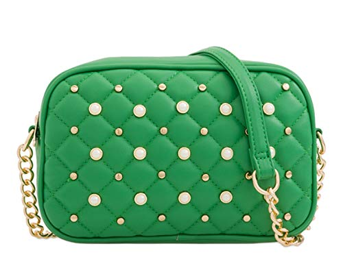 LeahWard Women's Small Cross Body Bag Pearl Handbags Chain Strap 162 Green