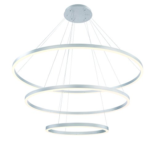 Eurofase Spunto Oversized LED 3-Tier Ring Chandelier Opal Diffused Shade, 60.75 Inches in Diameter-Model 31474-016, Aluminum Finish (3 Tier Acrylic Chandelier)