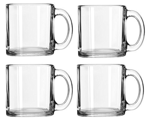 Libbey Crystal Coffee Mug Warm Beverage Mugs Set of 4 (13 oz) -