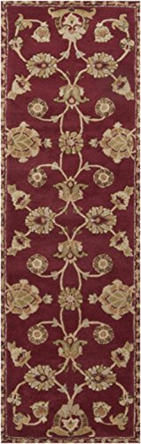 2.5' x 8' French Classic Ruby Red and Moth Beige Wool Throw Rug Runner by Diva At Home
