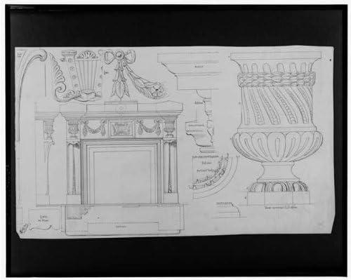 Infinite Photographs Photo: Fireplace Mantel,Elevations,Plan,Sections,Full Size Details,vase,JG Bruff,1880
