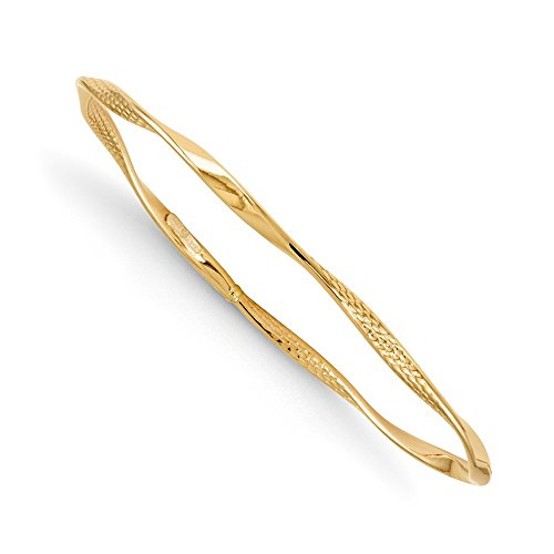 - FB Jewels Solid 14K Yellow Gold Polished And Textured Twisted Slip-On Bangle