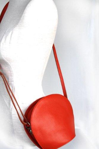 Leder Tasche Abend- / Umhängetasche Italy Orange C4Lczg
