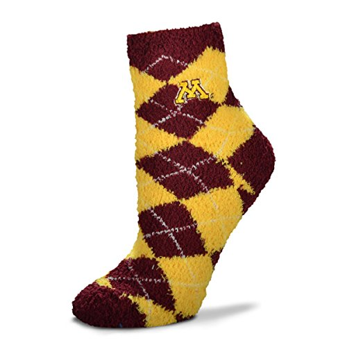 For Bare Feet NCAA Argyle Fuzzy Sleep Socks-Medium-Minnesota Golden Gophers