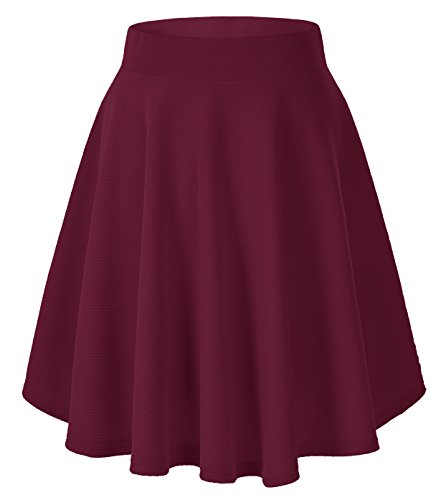 Urban CoCo Women's Basic Versatile Stretchy Flared Casual Mini Skater Skirt (Small, Wine red)