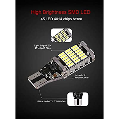 ( Pack of 4 ) 921 912 T10 T15 Xenon White 1100 lumens 12V-24V Extremely Bright Non-Polarity Canbus Error Free AK-4014 45pcs Chipsets LED Bulbs For Backup Reverse Parking Lights 6000K: Automotive