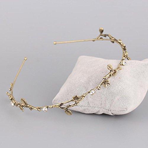 usongs Barlow ancient goddess hair accessories metal gold diamond hoop head Locke leaves water pearl fine hair leaves Greece
