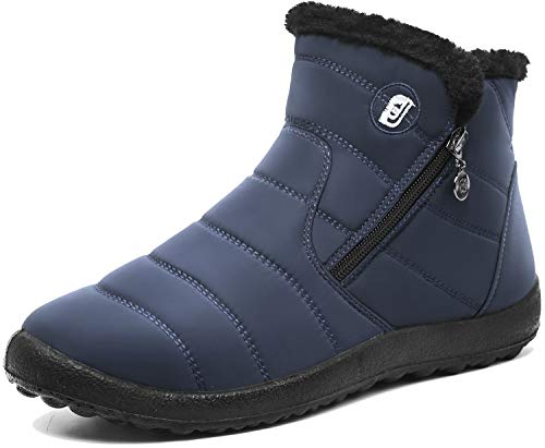 er Snow Boots Waterproof Anti-Skid Plush Lining Slip On Flat Ankle Outdoor for Couples 9.5 B(M) US ()