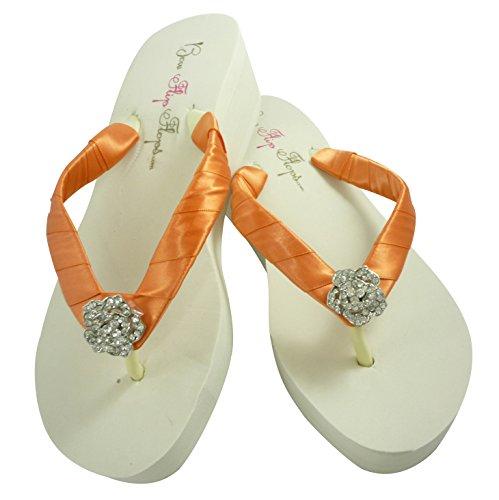 Handmade & Custom Ivory White Heel Flip Flops, Wedge - Orange Papaya