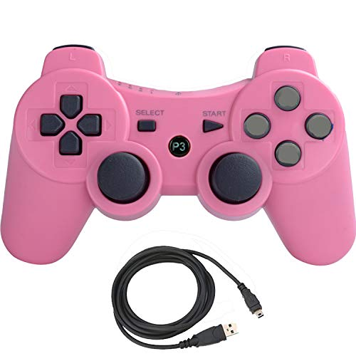 Molgegk Wireless Bluetooth Controller for PS3 Double Shock - Bundled USB Charge Cord (Pink) (Ps3 Wireless Pink Controller)