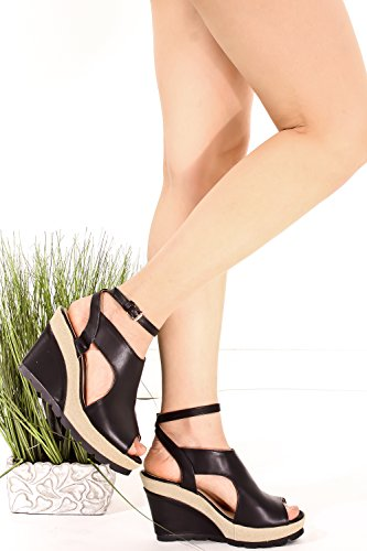 DND ANNA PU OPEN TOE CUTOUT SIDE AND BACK LOOK ANKLE STRAP WEDGES HEEL Blackpu fEdtdAr2o