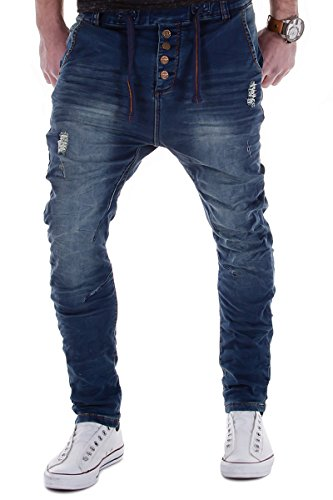 Urban Surface by Authentic Style Jogg Jeans Destroyed Look Drop Crotch Sweathose W29-W38 L32-L34 (W32/L32)