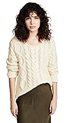 Ryan Roche Women S Cable Knit Sweater Ivory Off White Small
