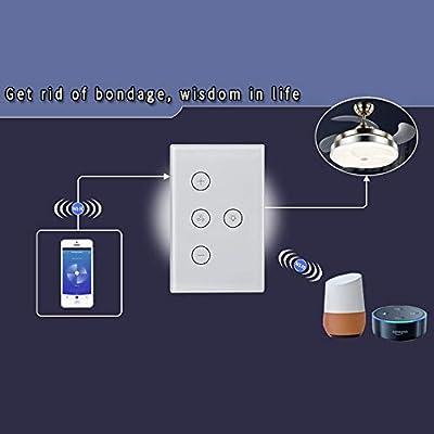 Wifi Smart Ventilador De Techo Luz Interruptor De Pared Life Tuya App Control Remoto Interruptor De Control De Velocidad Diferente Compatible Para Alexa Google Home: Amazon.es: Bricolaje y herramientas