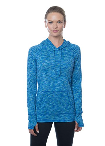 RBX Active Women's Long-Sleeve Space Dye Peached Jersey Hoodie, L, Green/Turquoise