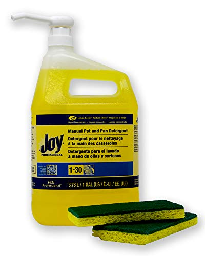 Pan Detergent Lemon - Joy Professional Pot and Pan Detergent, Lemon Scent, (128 FL oz.) 1 Gallon Bundle - Plus 1 Gallon Size Pump Dispenser and 2 Scrub sponges