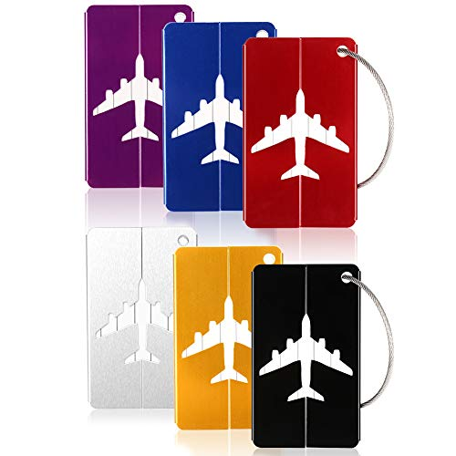 6PCS Metal Travel Luggage Tags Strings Card, Upgrade Suitcase Travel ID Bag