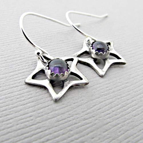 amethyst earrings 925, amethyst drop earrings silver, february birthstone earring, purple earrings, 925 drop earrings, dangle ()