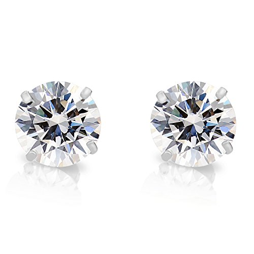 14k White Gold Solitaire Cubic Zirconia CZ Stud Earrings with Secure Screw-backs (7mm)