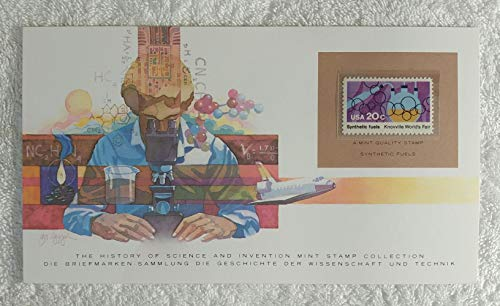 - Synthetic Fuels - Postage Stamp (United States, 1982) & Art Panel - The History of Science & Invention - Franklin Mint (Limited Edition, 1986) - Knoxville World's Fair, Crude Oil Alternative, Shale Oil, Coal Gas