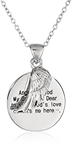 Sterling Silver Angel of God and Wing Pendant Necklace, 18""