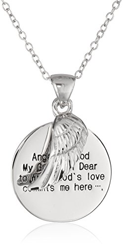 Sterling Silver Angel of God and Wing Pendant Necklace, 18