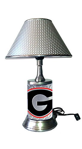 (HT Table Lamp with Chrome Colored Shade, Georgia Bulldogs Plate Rolled in on The lamp Base, Base Wrapped with Diamond Metal)