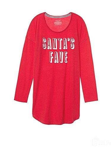 Victoria's Secret Pajama The Angel Sleep Tee Sleepshirt Red Santa's Fave XS