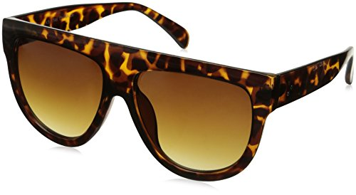 zeroUV Large Oversize Wide Temple Flat Top Aviator Sunglasses, Orange Tortoise / Amber, 57 - Sunglasses Top Flat Retrosuperfuture