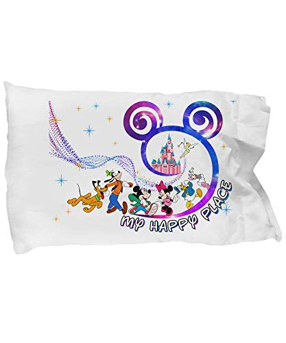 (Best Gift My Happy Place Disney Pillow Case - Sweet Dream Mickey Mouse Disney Pillow Case for Your Childs)