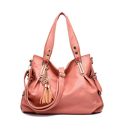 DEERWORD Women's Hobos Shoulder Bags Totes Satchels Top-Handle Handbags PU Leather Convertible Peach ()