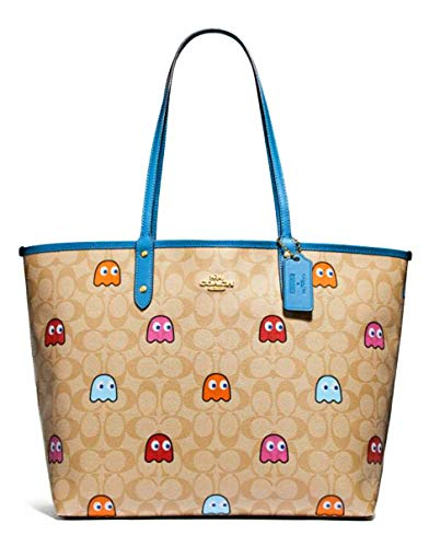 City Light Tote - Coach Reversible City Tote in Signature Canvas with Pacman Ghost Print light Khaki/River 72905, Large