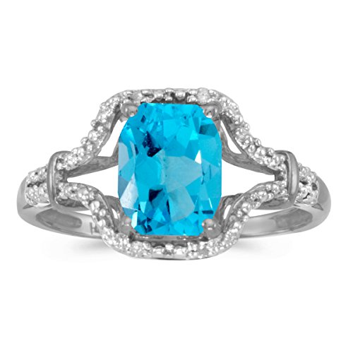 (FB Jewels 14k White Gold Genuine Blue Birthstone Solitaire Emerald-cut Blue Topaz And Diamond Wedding Engagement Statement Ring - Size 7 (1.5 Cttw.))