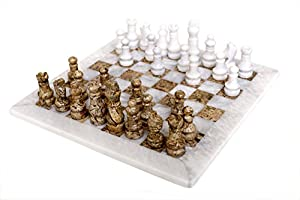 RADICAL Handmade White and Fossil Coral Marble Full Chess Game Original Marble Chess Set