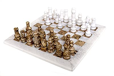 RADICALn Handmade White and Fossil Coral Marble Full Chess Game Original Marble Chess Set