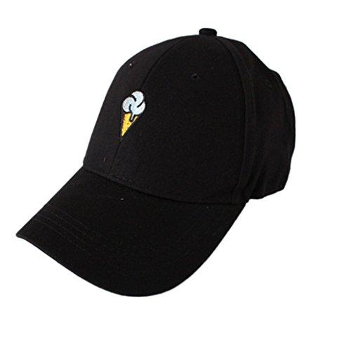 Embroidery Cotton Baseball Cap ,Tuscom@ Adjustable Snapback Caps Hip Hop Cotton Hats (ice cream Black)
