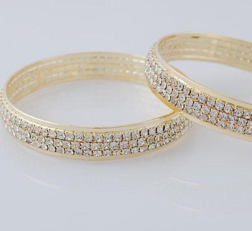 - 1pc 3rows Gold or Silver Crystal Bracelet Bangle Bridal Wedding Wristband (Gold)