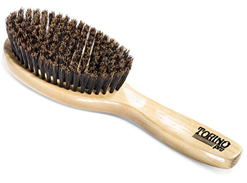 Torino Pro Wave Brush #1190 - By Brush King - Soft Oval Palm/Military with Long Handle 360 Waves Brush