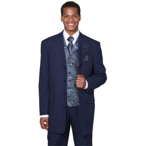 Single Breasted Side Vent (Milano Moda Single Breasted,Double Vent,High Fashion Suit with Matching Vest, Tie & Hankie 42Regular Navy)